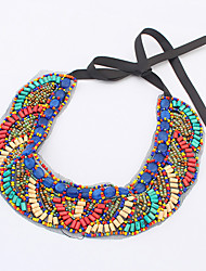 Women's Statement Necklaces Acrylic Silver Plated Alloy Folk Style European Costume Jewelry Fashion Bohemian Jewelry For Party Daily