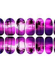 12PCS Romantische Lila Coconut Tree Luminous Nail Art Sticker