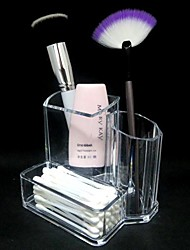 preiswerte -Acryl Transparent 2in1 Kosmetik Lagerstandplatz Make-up Pinsel Pot & Swab-Box Kosmetik Organizer
