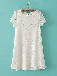 Z & G Ženska Čipka Kaleidoskop kratkih rukava White Dress