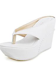 Feminino Sapatos Courino Verão Anabela Para Casual Preto Branco Rosa
