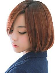 Senza cappuccio breve rettilineo sintetico Honey Brown moda Side Bang Parrucche