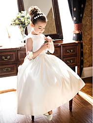 cheap -A-Line Tea Length Flower Girl Dress - Satin Sleeveless Jewel Neck by LAN TING BRIDE®