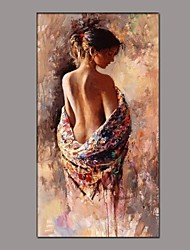 cheap -Oil Painting Hand Painted - People Classic Traditional Canvas