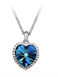 cheap -Women's Heart Zircon Cubic Zirconia Rhinestone Pendant Necklace - Love Movie Jewelry Fashion Heart Blue Necklace For Party Daily Casual