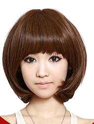 Short Bob Curly Wave Hair Light Brown Synthetic Full Bang Wig Heat Resistant