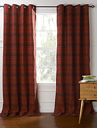 Two Panels Curtain Country , Plaid/Check Bedroom Cotton Material Curtains Drapes Home Decoration For Window
