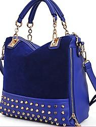 economico -Di Erlen donne Rivet catena stile coreano Tote / spalla / Crossbody Bag (Navy Blue)
