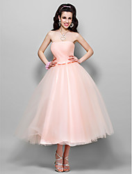 A-Line Princess Strapless Tea Length Tulle Cocktail Party Homecoming Prom Wedding Party Dress with Bow(s) Ruching by TS Couture®