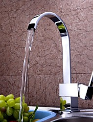 Contemporary Tall/­High Arc Deck Mounted Waterfall Ceramic Valve One Hole Single Handle One Hole Chrome , Kitchen faucet