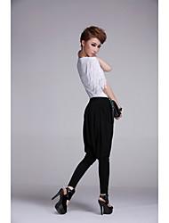 Meili Fashion Leisure Chiffon Stretch Haroun Pants (Black)