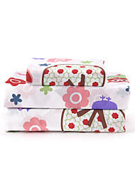 cheap -Sheet Set - Microfibre Floral 1pc Flat Sheet 1pc Fitted Sheet 2pcs Pillowcases (only 1pc pillowcase for Twin or Single)