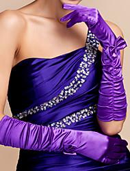 economico -guanto in raso a gomito partito / sera guanti con fiocco stile elegante