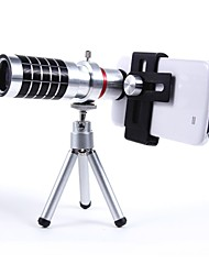 Universal Aluminum Alloy 16X Telephoto Zoom Lens Set with  metal clip - Silver