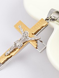 cheap -Men's Cross Fashion Pendant Necklace Titanium Steel Gold Plated Pendant Necklace , Daily Casual