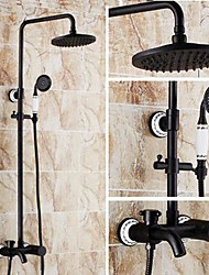 cheap -Antique Shower System Ceramic Valve Three Holes Single Handle Three Holes Oil-rubbed Bronze, Shower Faucet