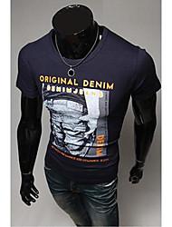 Em torno do pescoço Moda slim Carta Padrão Masculina Imprimir T-shirt de manga curta