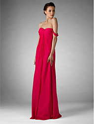 Sheath / Column Sweetheart Off-the-shoulder Floor Length Chiffon Bridesmaid Dress with Draping Ruching by LAN TING BRIDE®