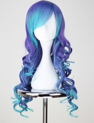 cheap -Cosplay Wigs Vocaloid Luca Blue Medium / Curly Anime Cosplay Wigs 75 CM Heat Resistant Fiber Female