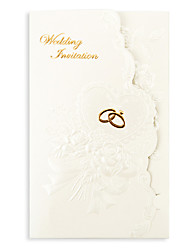 Недорогие -Тройной сгиб Свадебные приглашения Пригласительные билеты Цветочный стиль Розовая бумага 18,4*12,8 см
