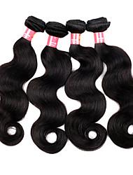 Недорогие -16 18 20 22 дюймы Великие 5А бразильские Девы человеческих волос Природа Черный цвет объемная волна Наращивание волос