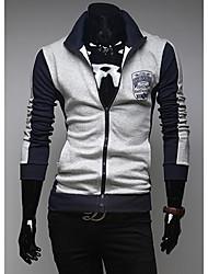 abordables -Le printemps et l'automne les hommes la mode couleur multi épissage veste motif badge