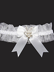 cheap -Lace Satin Wedding Garter with Rhinestone Bowknot