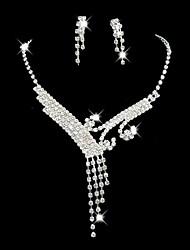 Недорогие -Свадебное платье невесты Кристалл ожерелье серьги комплект ювелирных изделий