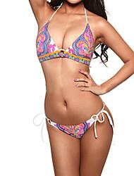 padrão de impressão indiano das mulheres sexy uma linha de halter swimwear do biquini