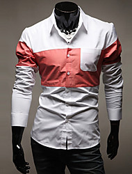 cheap -Men's Spring Latest Korean Style Multi Color Splicing Long Sleeve Shirt