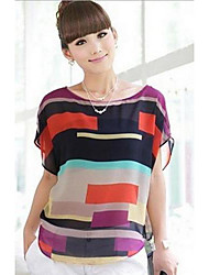 cheap -Women's Polyester T-shirt - Patchwork, Modern Style