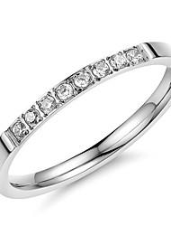 Super Beautiful Fashion Exquisite Female Ring Set Auger Zircon Titanium Steel