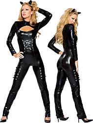 Недорогие -Элегантные Женщина-кошка черный Кожа PU женщин Хеллоуин костюм