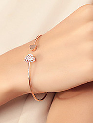 cheap -Women's Rhinestone Gold Plated Heart Bangles Cuff Bracelet - Basic Love Fashion Silver Golden Bracelet For Wedding Party Birthday