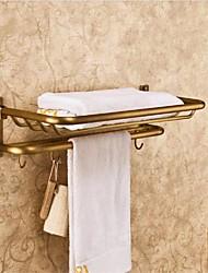 economico -Antico finitura ottone Bronze Materiale di montaggio a parete Mensole bagno con Ganci