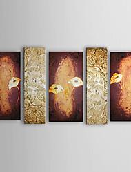 Pintados à mão Floral/Botânico 5 Painéis Tela Pintura a Óleo For Decoração para casa