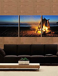 cheap -Stretched Canvas Art Landscape Campfire Set of 3