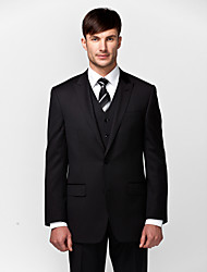 cheap -Solid Tailored Fit Wool Polyester Suit - Slim Peak Single Breasted Two-buttons