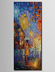 iarts®hand pintura a óleo pintado paisagem menina na pintura chuva com moldura esticada