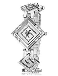 abordables -Mujer Cuarzo Simulado Diamante Reloj Reloj de Pulsera Japonés Gran venta Rosa Oro Plateado Banda Elegant Plata Dorado