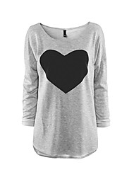 Women Love Heart Print Long Sleeve Casual Tops