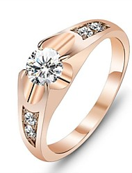cheap -Women's Statement Ring - Rose Gold, Cubic Zirconia, Gold Plated Love Unique Design 6 / 7 Gold For Wedding / Party / Gift