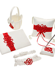 Satin Wedding Collection set con poliestere Banding e ricamo (5 pezzi)