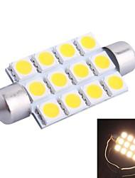 42mm 3W 160LM 3000K 12x5050 SMD Warm White LED for Car Reading/License Plate/Door Lamp (DC12V, 1Pcs)