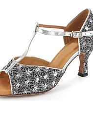 Women's Dance Shoes Latin/Salsa/Performance Sparkling Glitter Heel Silver Customizable