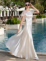 A-Line Jewel Neck Floor Length Lace Stretch Satin Wedding Dress with Beading Button by LAN TING BRIDE®
