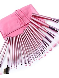 cheap -22pcs professional soft cosmetic makeup brush set kit and pink pouch bag case