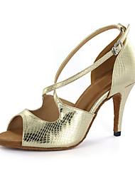 Women's Latin Ballroom Leatherette Sandal Buckle Chunky Heel Champagne Brown Gold Customizable