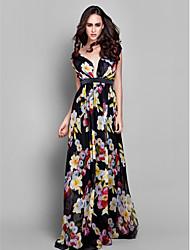 billige -Tube / kolonne V-hals Gulvlang Chiffon Formel aften Kjole med Sidedrapering ved TS Couture®