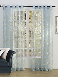 Rod Pocket Grommet Top Tab Top Double Pleat Two Panels Curtain Country , Embroidery Bedroom Polyester Material Sheer Curtains Shades Home